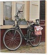 Bicycle With Baby Seat At Doorway Bruges Belgium Wood Print