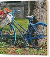 Bicycle With Basket Of Flowers Wood Print