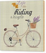 Bicycle With Lavender In Basket. Poster Wood Print