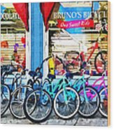 Bicycles And Chocolate Wood Print