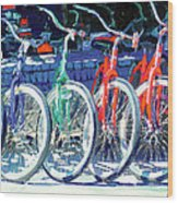 Bicycles In A Row San Diego Wood Print