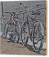 Bicycles On A Rail Wood Print