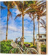 Bicycles Under The Palms Wood Print