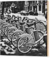 Bicycles - Velib Station - Paris Wood Print