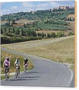 Bicycling In Tuscany Wood Print