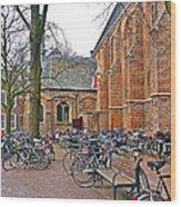 Bicycling To Church Wood Print