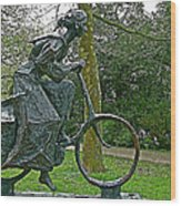 Bicyclist Sculpture In The Park In Leeuwarden-netherlands Wood Print