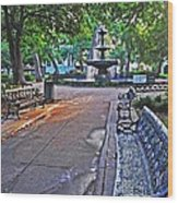 Bienville Square And The Bench 2 Wood Print