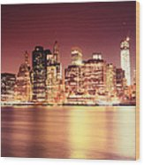 Big Apple - Night Skyline - New York City Wood Print
