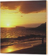 Big Beach Sunset Maui Hawaii Wood Print