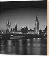 Big Ben And The Houses Of Parliament  Bw Wood Print