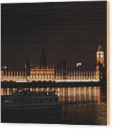 Big Ben And The Houses Of Parliment On The Thames Wood Print