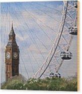 Big Ben And The London Eye Wood Print