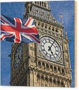 Big Ben And Union Jack Wood Print