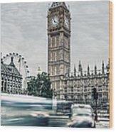 Big Ben At Dusk With Passing Traffic - Wood Print