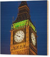 Big Ben At Night Wood Print