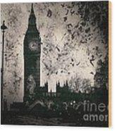 Big Ben Black And White Wood Print