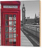 Big Ben Red Telephone Box Wood Print