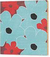 Big Blue Flowers Wood Print