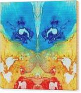 Big Blue Love - Visionary Art By Sharon Cummings Wood Print