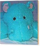Big Blue Teddy Wood Print