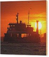 Big Boat At Sunset  Wood Print