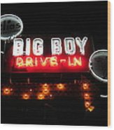 Big Boy Drive-in At Night Wood Print
