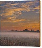 Big Break Ground Fog Wood Print