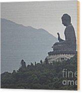 Big Buddha In Hong Kong Wood Print