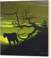 Big Cat Silhouette -  Use Red-cyan 3d Glasses Wood Print