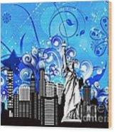 Big City Blues 4 Liberty Wood Print