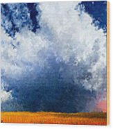 Big Cloud In A Field Wood Print