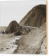 Big Creek Bridge Double Arched Concrete Bridge On Highway 1. About 40 Miles South Of Monterey  1935 Wood Print