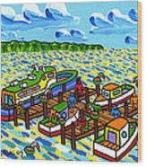 Big Dock - Cedar Key Wood Print