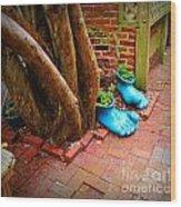 Big Foot Left His Filo Shoes Behind Wood Print by Lorraine Heath