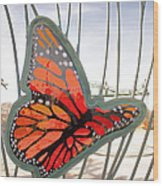 Big Glass Butterfly In Flight Wood Print