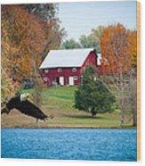 Big Red Barn Eagle Rocky Fork  Wood Print