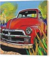 Big Red Chevy Wood Print