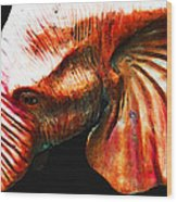 Big Red - Elephant Art Painting Wood Print by Sharon Cummings