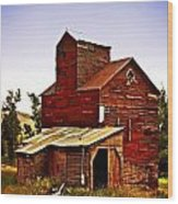 Big Red Grain Elevator Wood Print