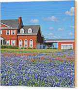 Big Red House On Bluebonnet Hill Wood Print