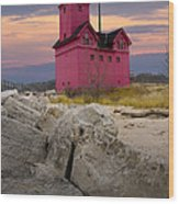 Big Red Lighthouse By Holland Michigan Wood Print