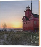 Big Red Lighthouse Wood Print