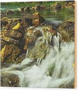 Big River  Waterfall And Dam Wood Print