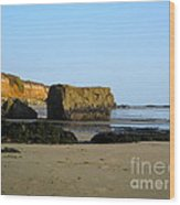 Big Rock On San Simeon Beach Wood Print