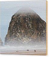Big Rock On The Oregon Coast With Fog Wood Print