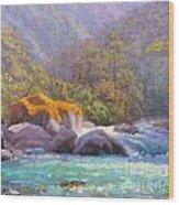Big Rocks Holyford River Wood Print