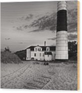 Big Sable Point Lighthouse In Black And White Wood Print