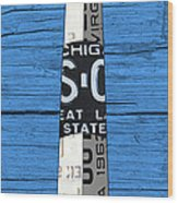 Big Sable Point Lighthouse Michigan Great Lakes License Plate Art Wood Print