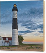Big Sable Point Lighthouse Sunset Wood Print